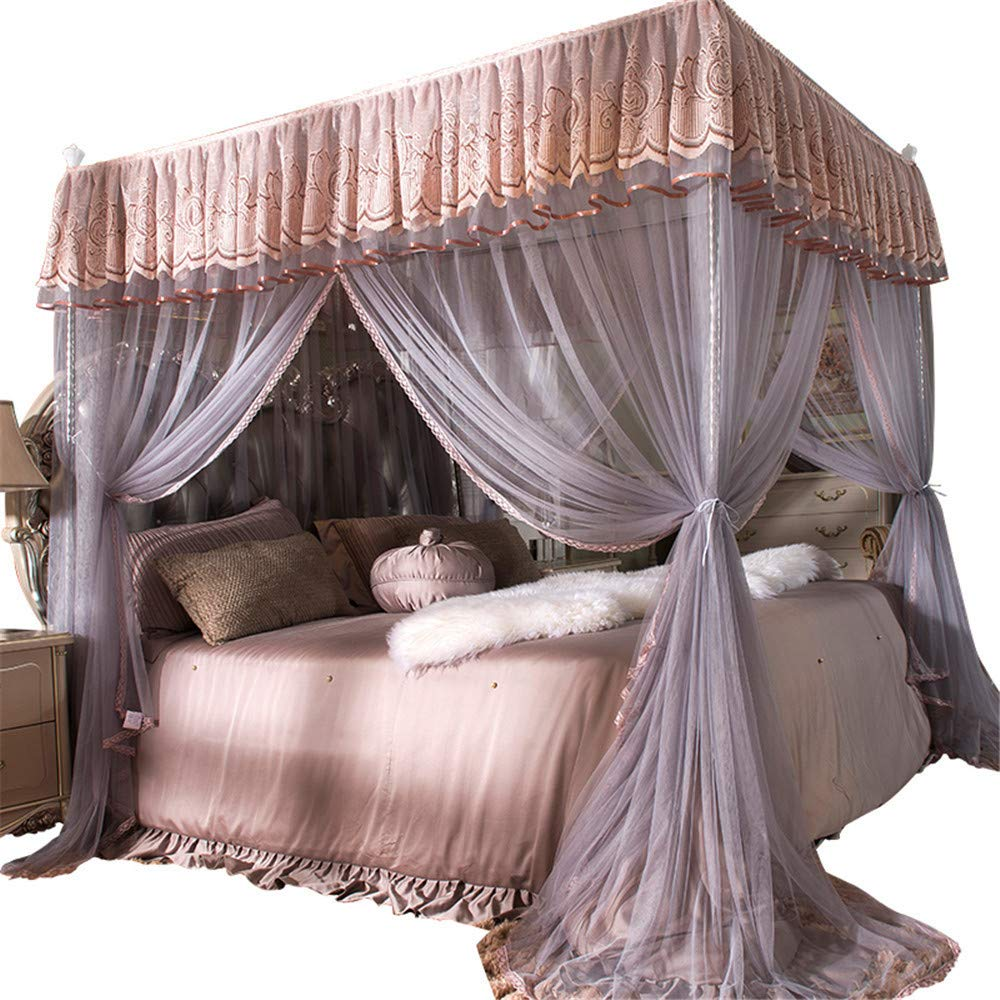 Mosquito net Bedroom Double Bed Landing Gauze Child Single Princess Room Account Student encryption Quality Bracket Tent, Pink Purple, 2.0M