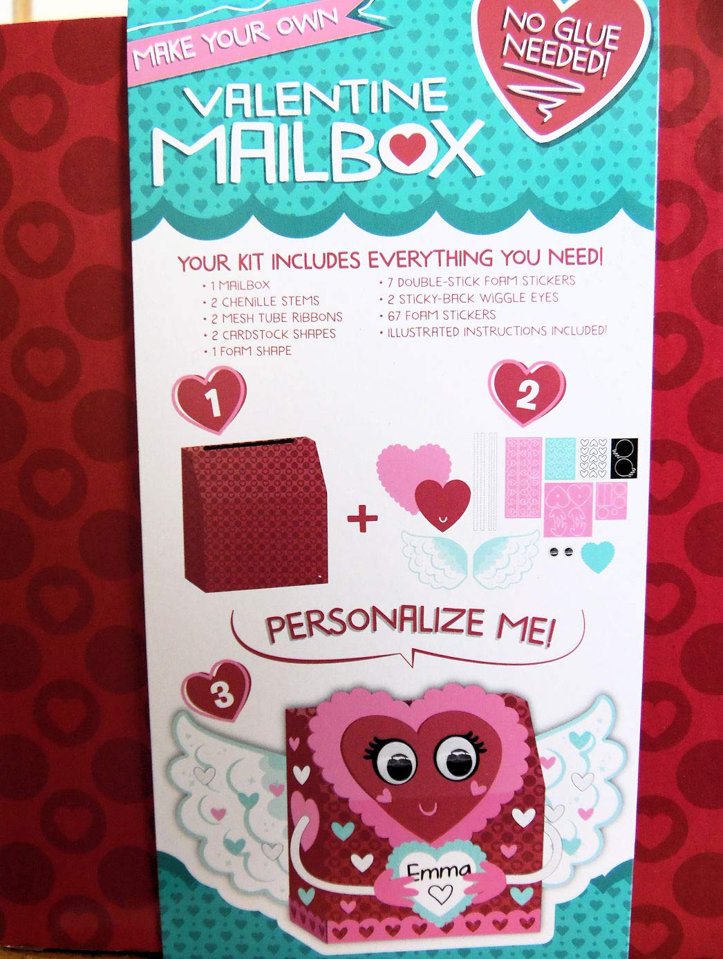 Makes 1 Box darice2019 Valentines Day Heart Angel Mailbox Card Holder Craft Kit Activity Kit