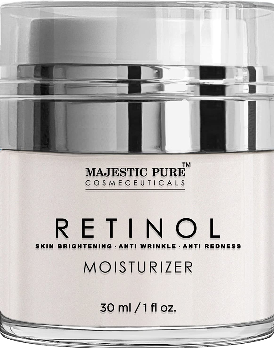 Majestic Pure Retinol Cream, Moisturizing Cream for Face or Eye Area Reduces the Appearances of Wrinkles & Redness, With Retinol, Hyaluronic Acid & Green Tea - 1 Oz.