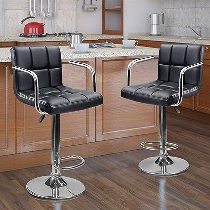 236017bf2b26 Amazon.com  Apontus PU Leather Swivel Hydraulic Bar Stool w  Arms ...