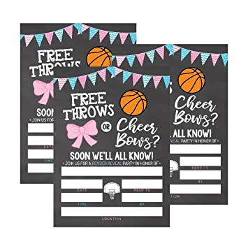 image relating to Free Printable Gender Reveal Invitations referred to as 25 Basketball Gender Make clear Kid Shower Get together Invitation Playing cards, Totally free Throws or Cheer Bows For