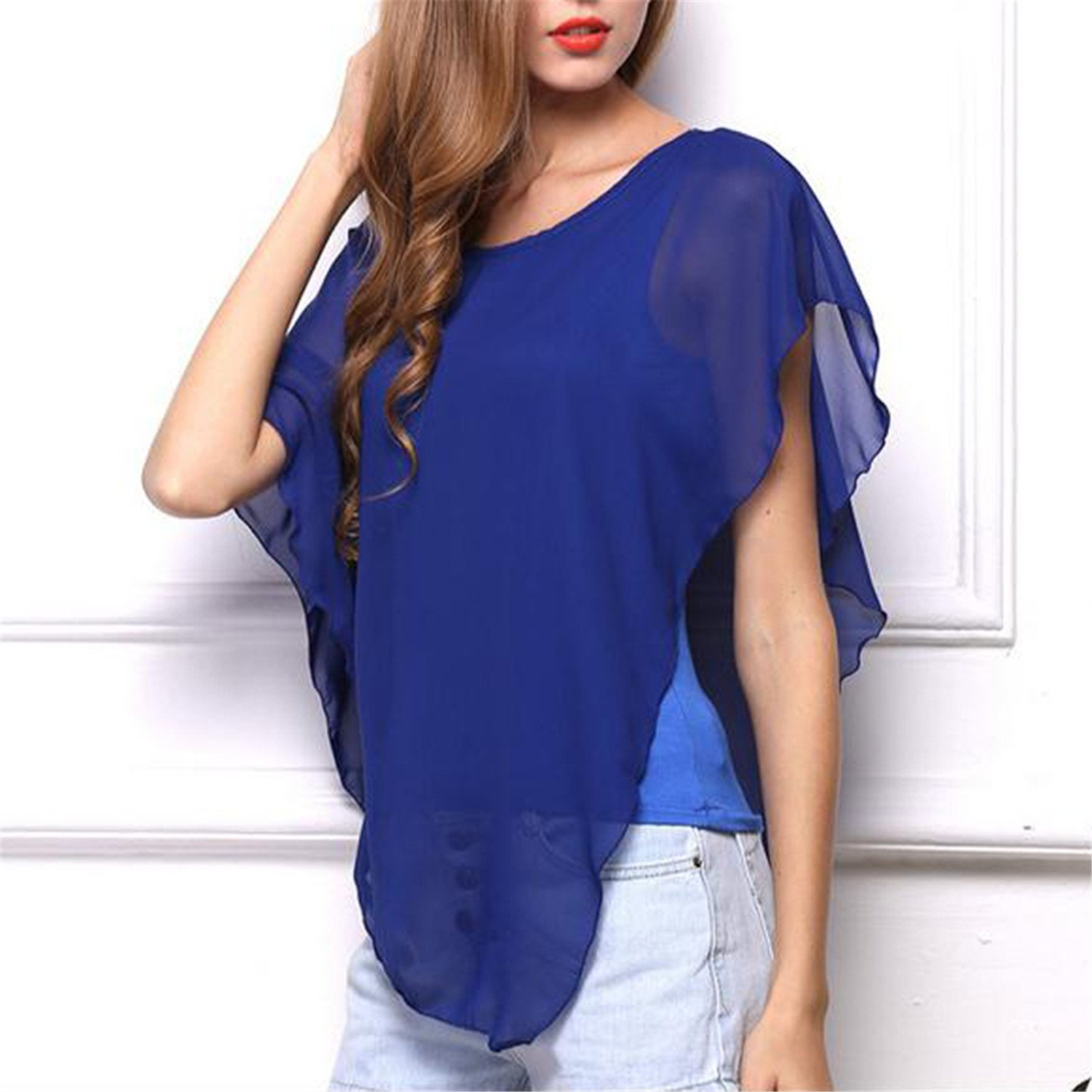 Casual Ruffle Chiffon Blouse Shirts Women Crew Neck Sleeveless Blouse Ladies Tops Loose Shirt at Amazon Womens Clothing store: