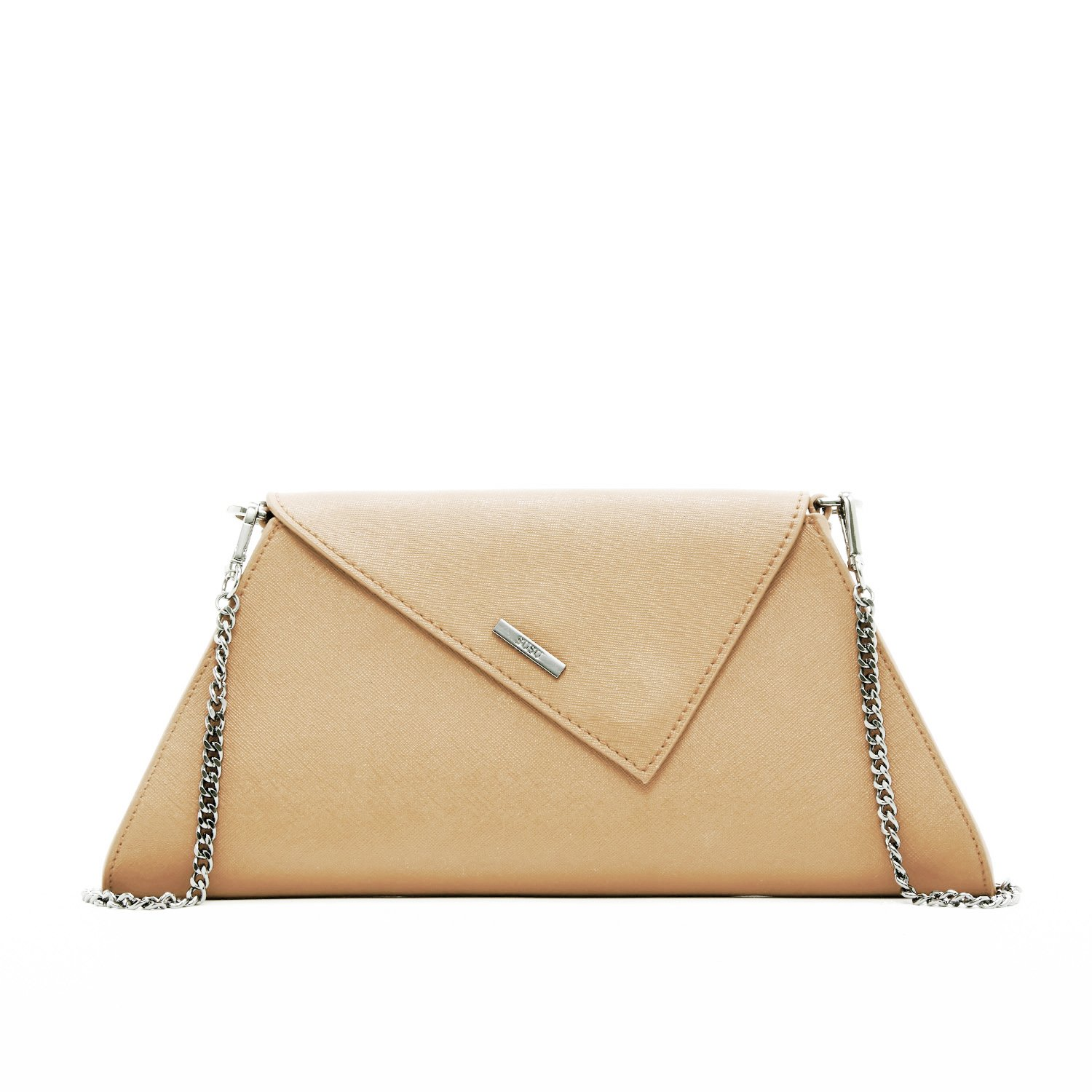 Nude Clutch Purse For Women - Taupe Clutches and Purses Tan Evening Bags Womens Beige Saffiano Leather Cream Neutral Envelope Designer Handbags Cute Crossbody Chain Strap Champagne Chic It Bag