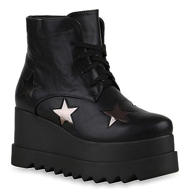 6588512485f54 Crazy Damen Stiefeletten Plateau Boots Techno Style 90s Schuhe ...