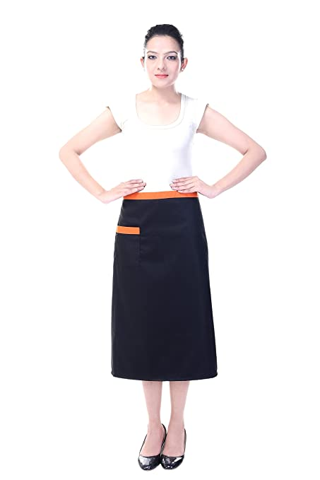 Switchon Black and orange waist Apron with solid fabric <span at amazon
