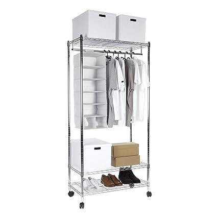 Racking Solutions Perchero cromado, riel para ropa, robusto, con gran capacidad de almacenamiento