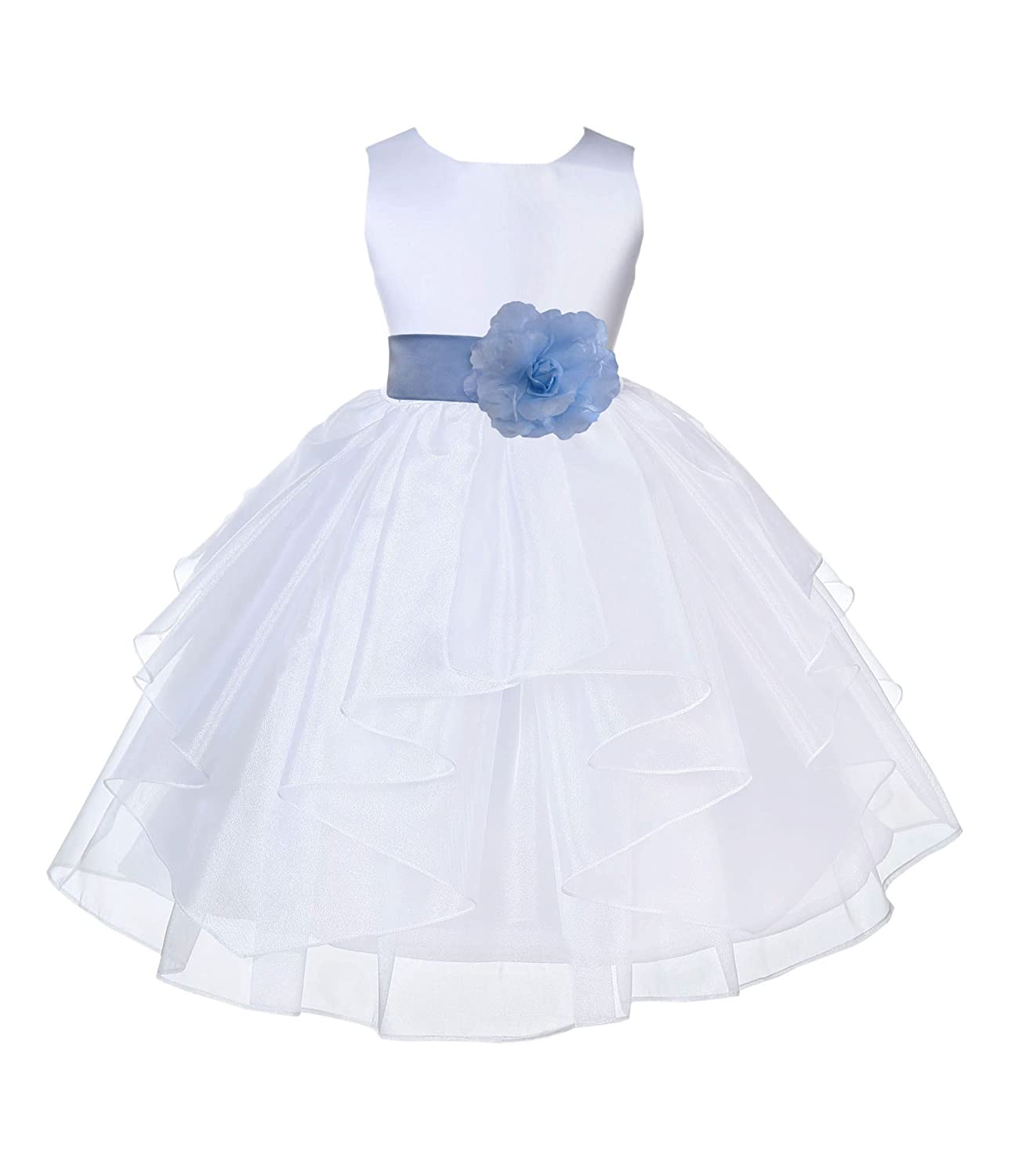ekidsbridal White Satin Shimmering Organza Flower Girl Dress Christening Dresses 4613S