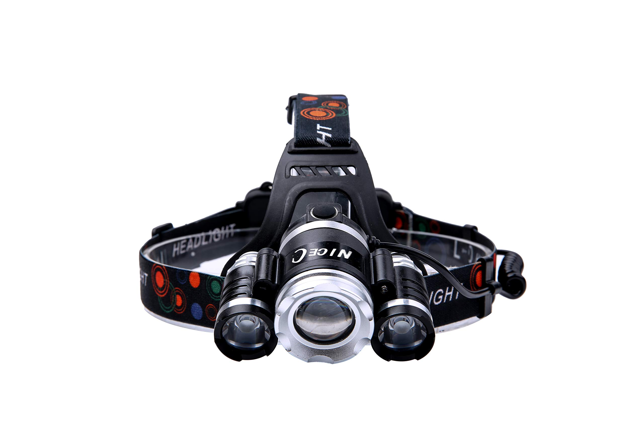 NiceC Induction Rechargeable Headlamp Waterproof LED 6000 Lumen flashlight headlight for camping, work, night riding, running, hiking by NiceC (Image #8)