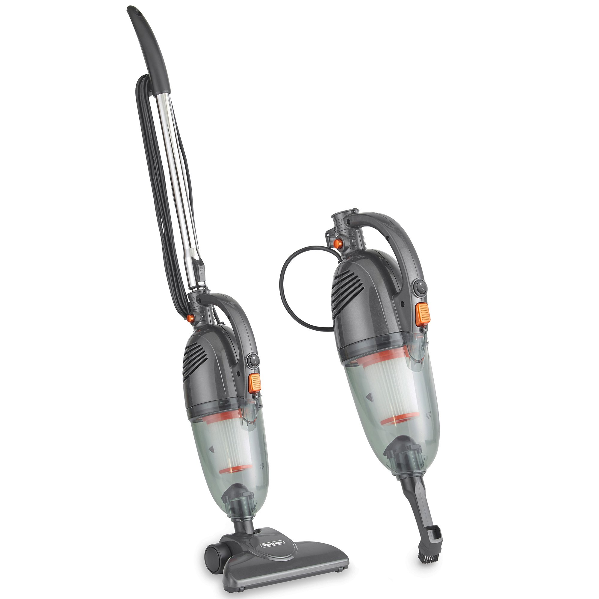 VonHaus Gray 2 in 1 Corded Lightweight Stick Vacuum and Handheld Vacuum Cleaner Bagless with HEPA Filtration, Crevice Tool and Brush Accessories - Ideal for Hardwood Floors