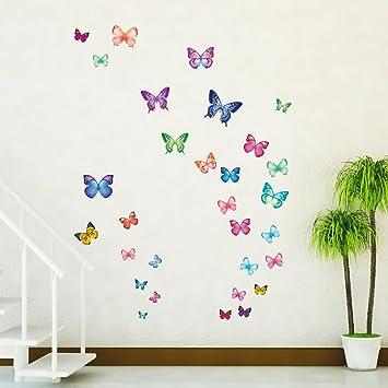 Decowall DW-1302 30 Farfalle Vivaci Adesivi da Parete Decorazioni ...