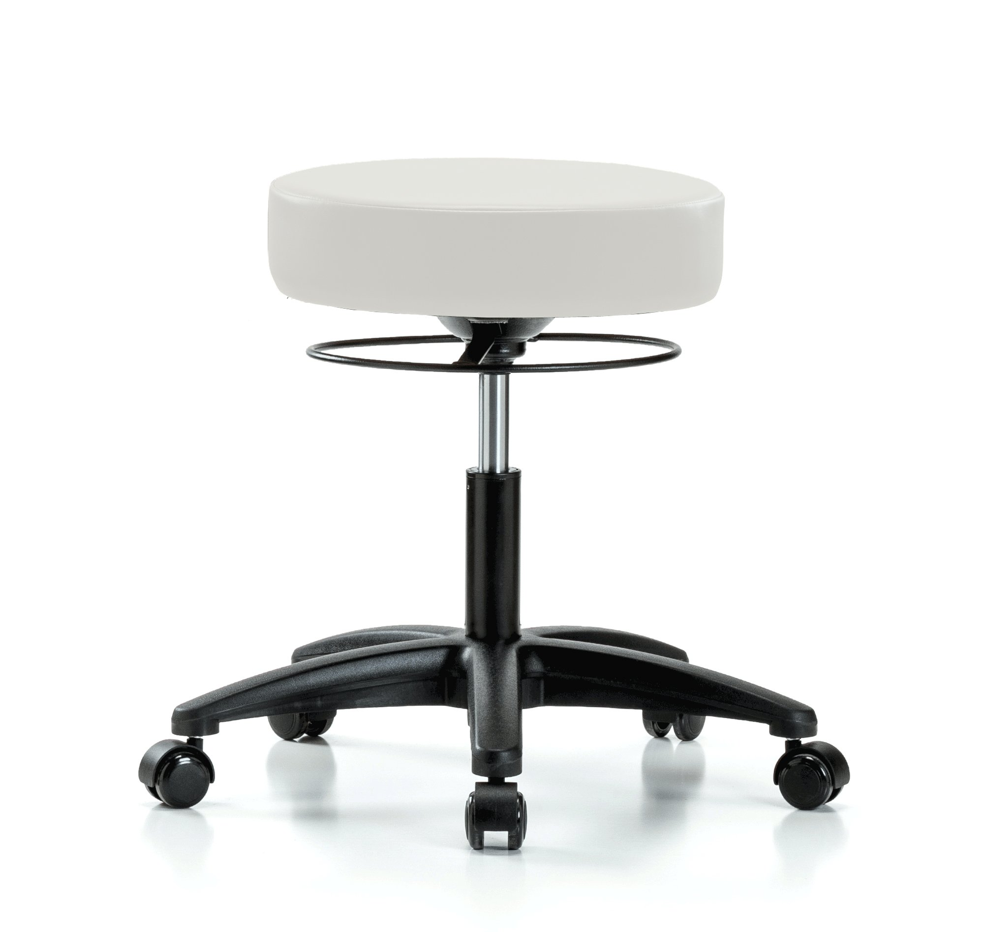Perch Stella Rolling Adjustable Stool Medical Salon Spa Massage Tattoo Office 18.5'' - 24'' (Soft Floor Casters/Adobe White Vinyl)