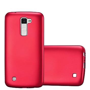 Cadorabo Funda para LG K10 2016 en Metallic Rojo – Cubierta Proteccíon de Silicona TPU Delgada e Flexible con Antichoque – Gel Case Cover Carcasa ...