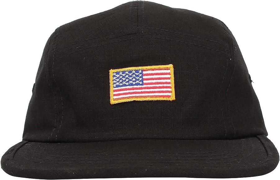 WITHMOONS Jockey Flat Bill Cap US American Flag 5 Panel Hat MU21161