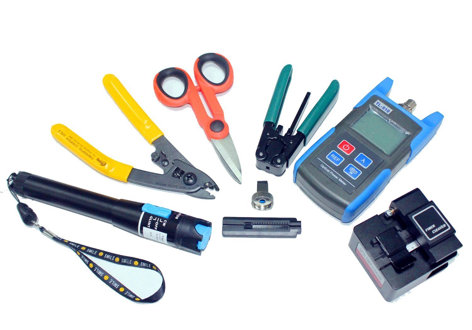 Multi-Purpose Fiber Optic Tool Kit Include Fiber Optic Cable Tester Visual Fault Locator Portable Optical Power Meter,Assembly Fiber Termination Tool Optic Connector Kit