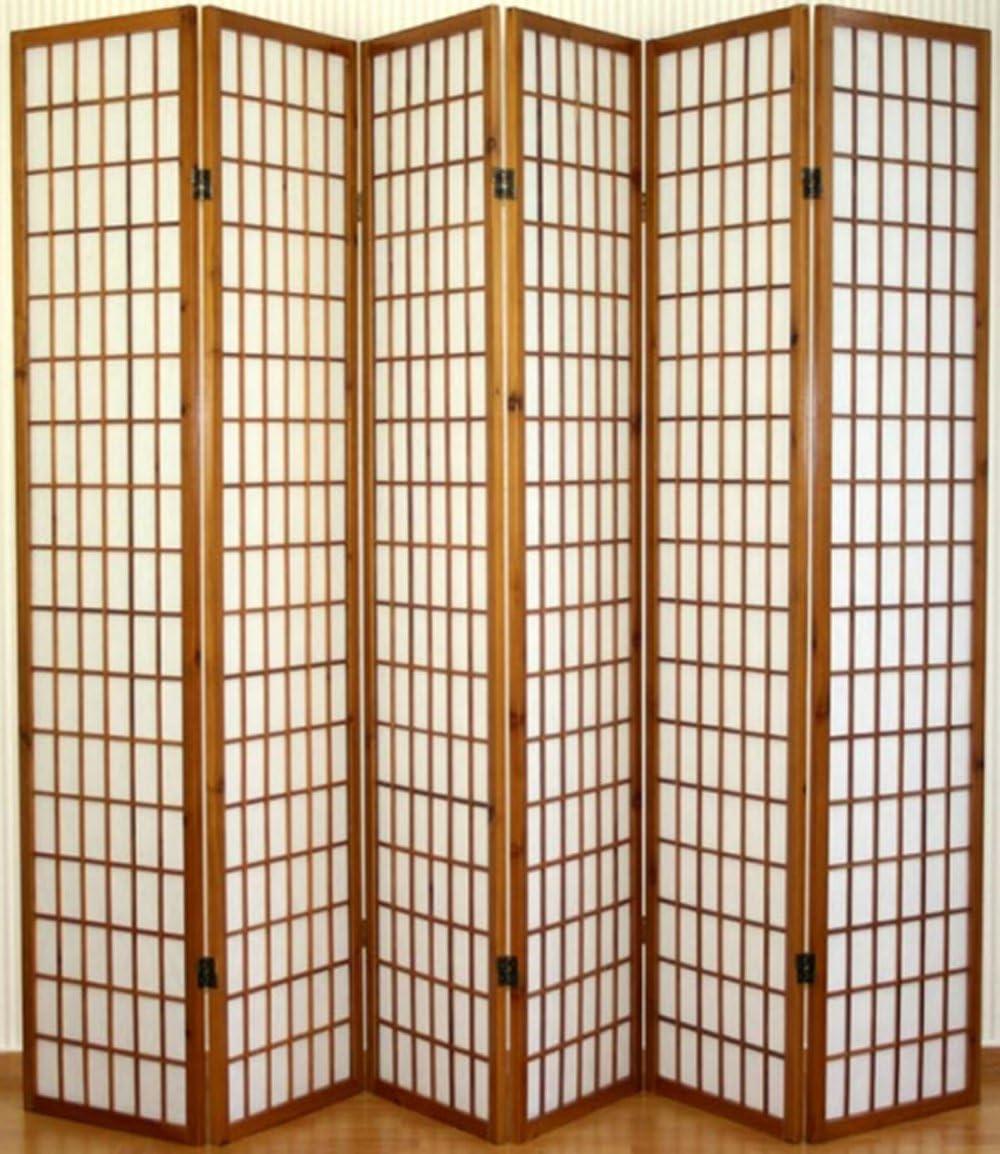 PEGANE Paravento giapponese Shoji in legno marrone scuro di 3 pannelli