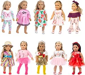 HOAYO 21 Pcs Girl Doll Outfits and Accessories for American Standard 18 Inch Dolls, 10 Sets Doll Clothing with Headbands, Hat, Crown, Shawl