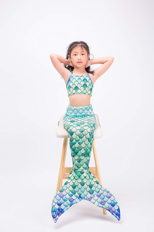 XonyiCos Costume da Bagno da Bambina con Coda a Sirena da Nuoto per Bambini