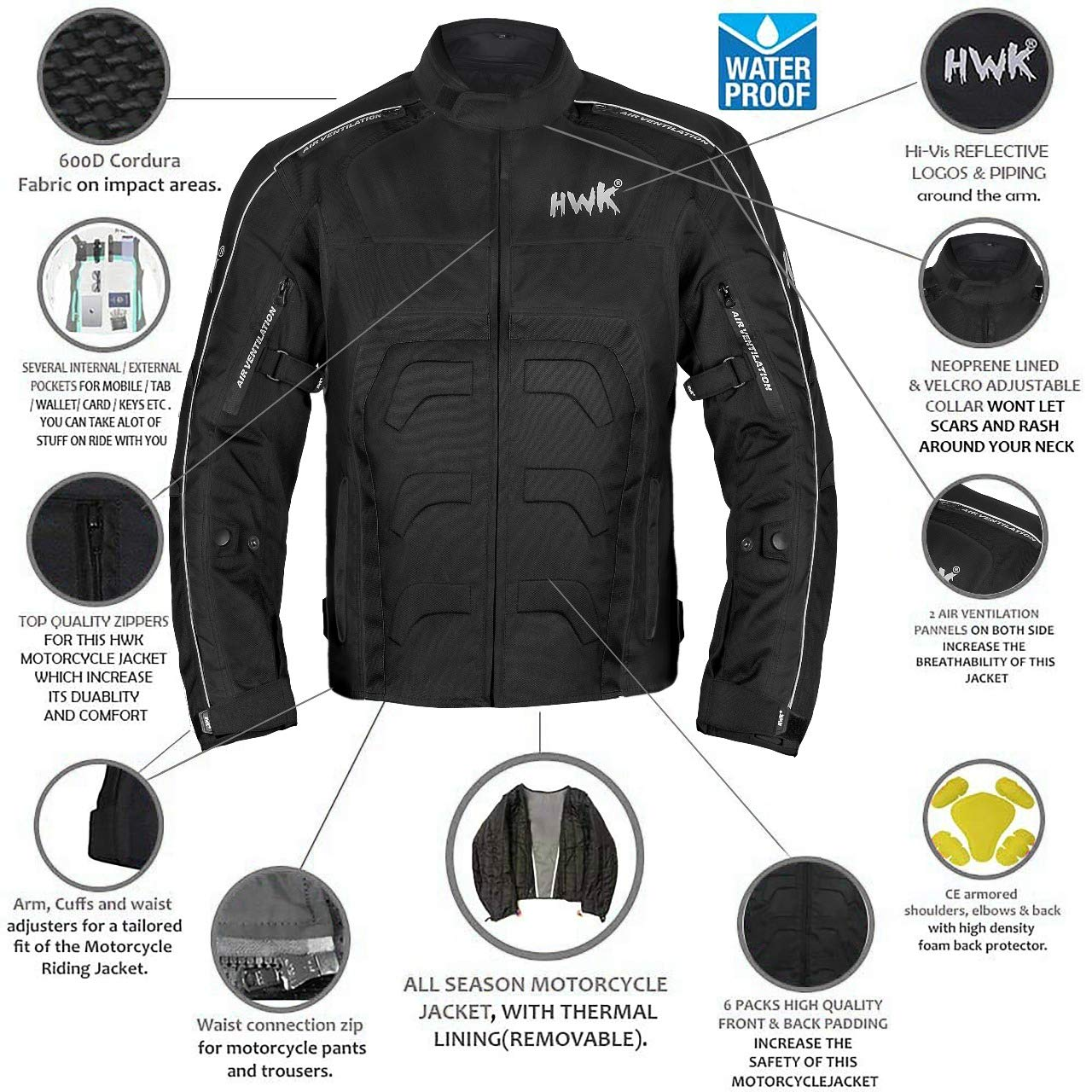 HWK Textile Motorcycle Jacket Motorbike Jacket Biker Riding Jacket Cordura Waterproof CE Armoured Breathable Reissa Membrane - Removable Thermal ...