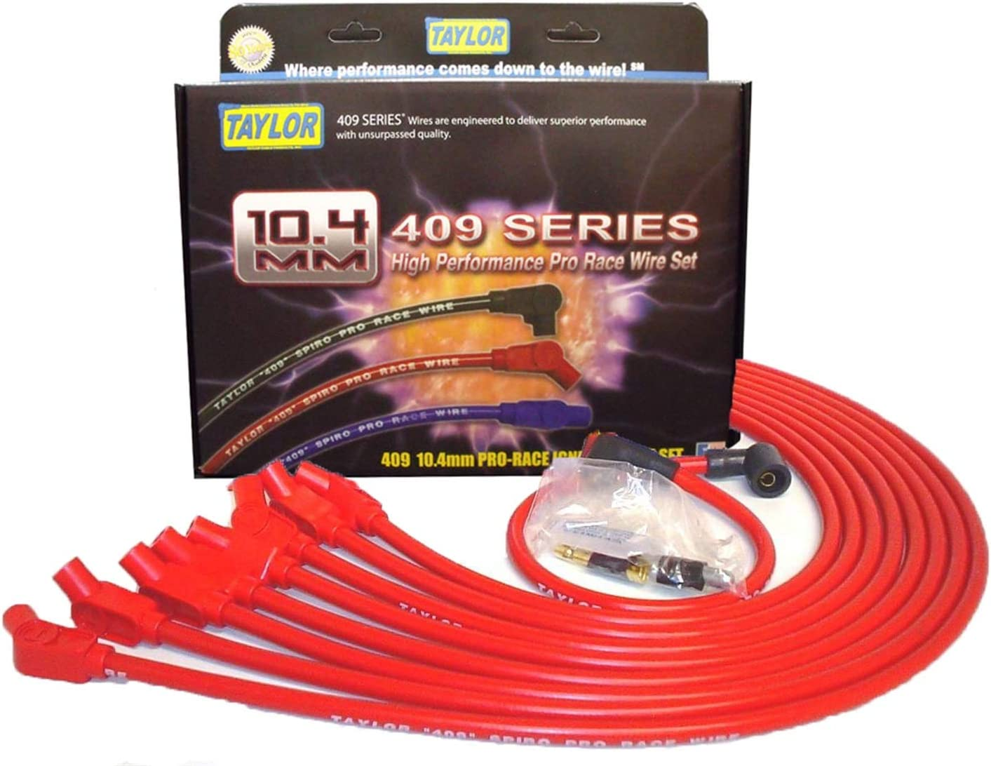 Taylor Cable 77220 Red 8mm Custom Fit Spiro Pro High Performance Spark Plug Wire Set