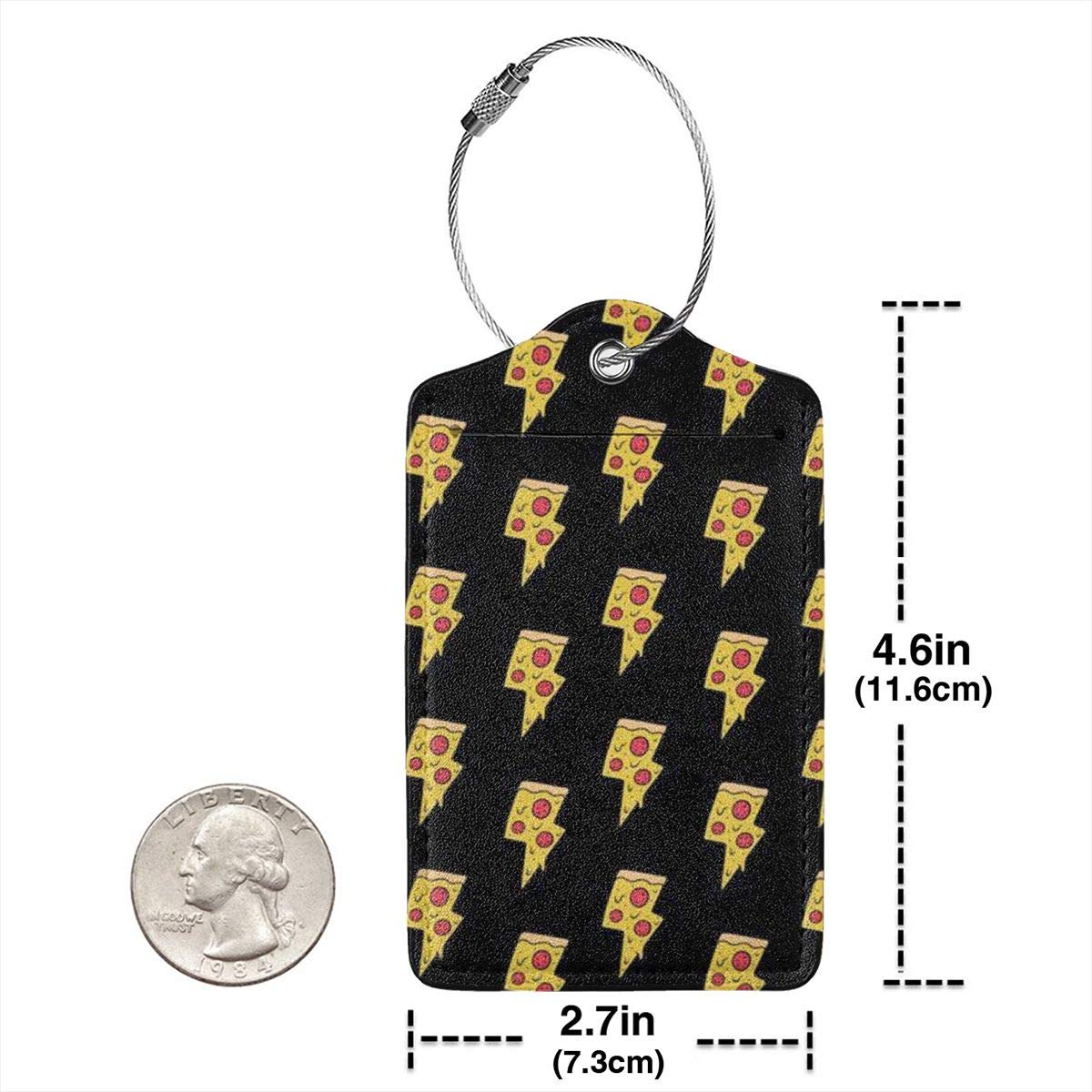 Cool Pizza Luggage Tag Label Travel Bag Label With Privacy Cover Luggage Tag Leather Personalized Suitcase Tag Travel Accessories