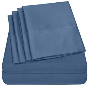 Queen Sheets Denim - 6 Piece 1500 Thread Count Fine Brushed Microfiber Deep Pocket Queen Sheet Set Bedding - 2 Extra Pillow Cases, Great Value, Queen, Denim