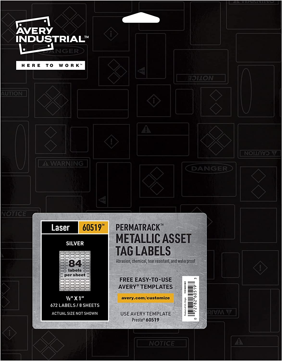 Avery PermaTrack Metallic Asset Tag Labels for Laser Printers, 1/2