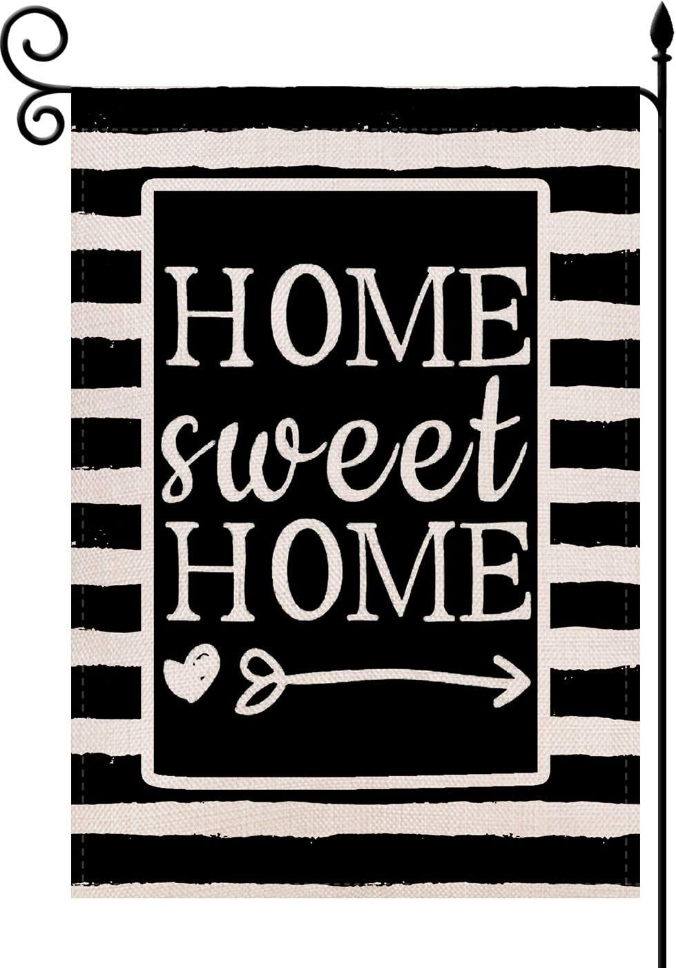 YaoChong Welcome Home Watercolor Stripes Garden Flag,Home Sweet Home Vertical Double Sided 12.5 x 18 Inch Rustic Burlap Black and White Spring Summer Holiday Outdoor Décor