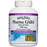 Stress-Relax Chewable Pharma GABA 100 mg by Natural Factors, Non-Drowsy Stress Support for Relaxation and Mental Focus, Tropi