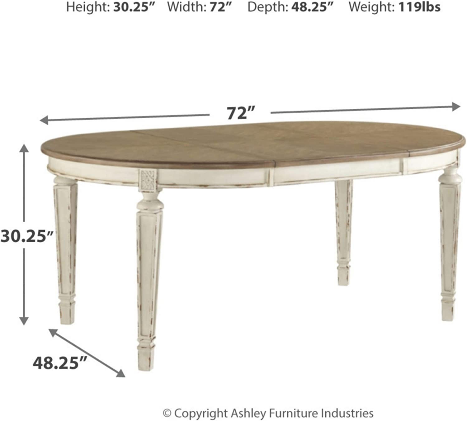 Chipped White Signature Design By Ashley D743 35 Realyn Dining Room Table Dining Tables Home