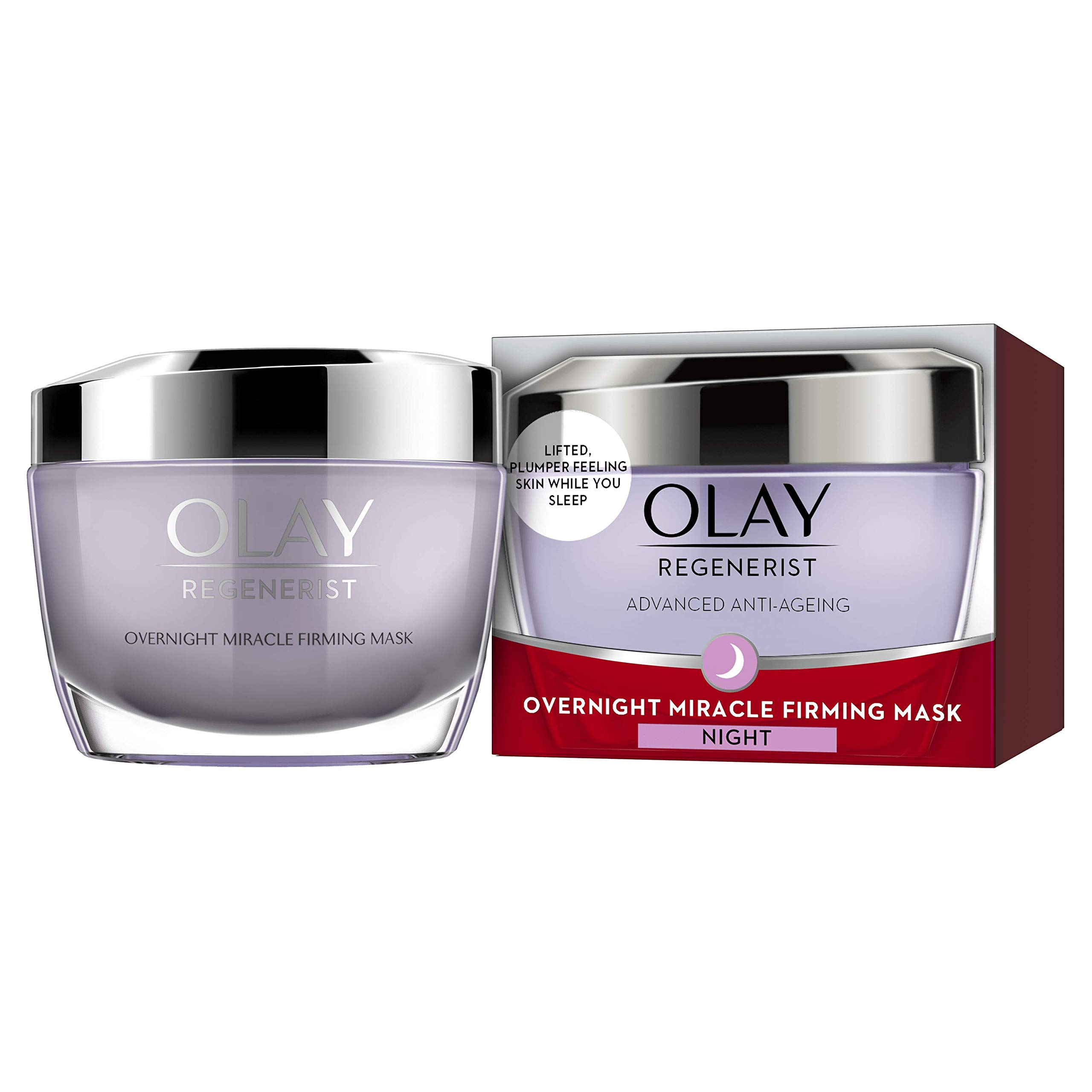 Olay Regenerist Night Cream, Overnight Miracle Firming Mask, Overnight Face Mask with Niacinamide & Peptides, 50ml
