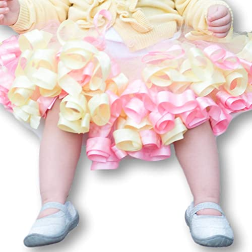 a79e862c65d6 Amazon.com: Yellow and Pink Tutu, Tulle Skirt for Toddler Girls, Pastel Tutu  for Baby Girl, Newborn - Size 12: Handmade