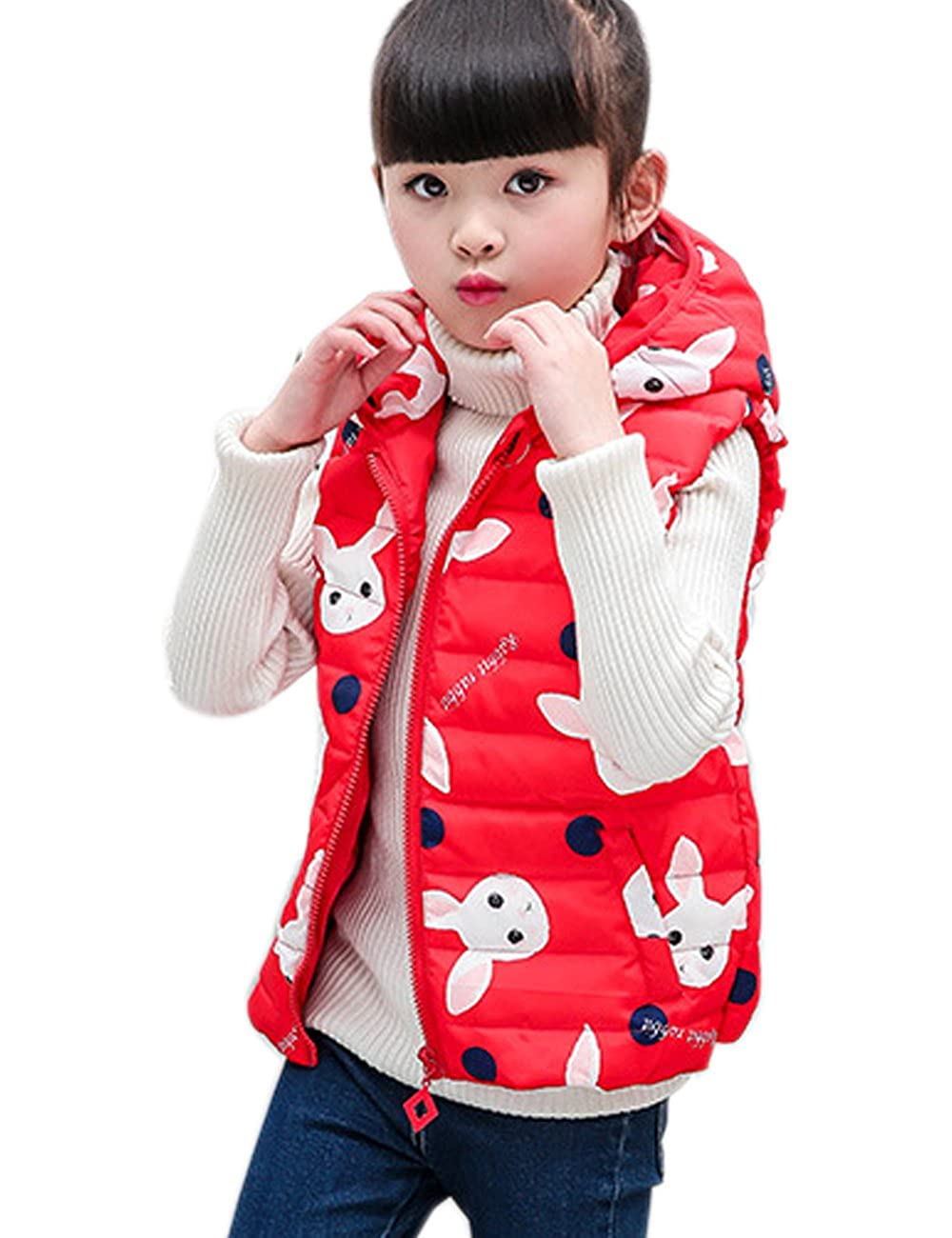 CUKKE Girl's Down Vest Hooded Winter Warm Outwear Thicker Short Section Down Vest wuxi shuailande trade CK-YHQ-9911