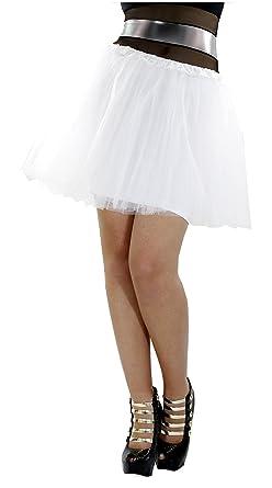Minifalda Blanca DE Tul con Falda Interior del Mismo Color para ...