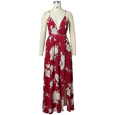 29fc31a4df9 OFJCHPDM Women Deep V Neck Floral Print Boho Maxi Dress Strap Backless  Beach Long Dress at Amazon Women s Clothing store