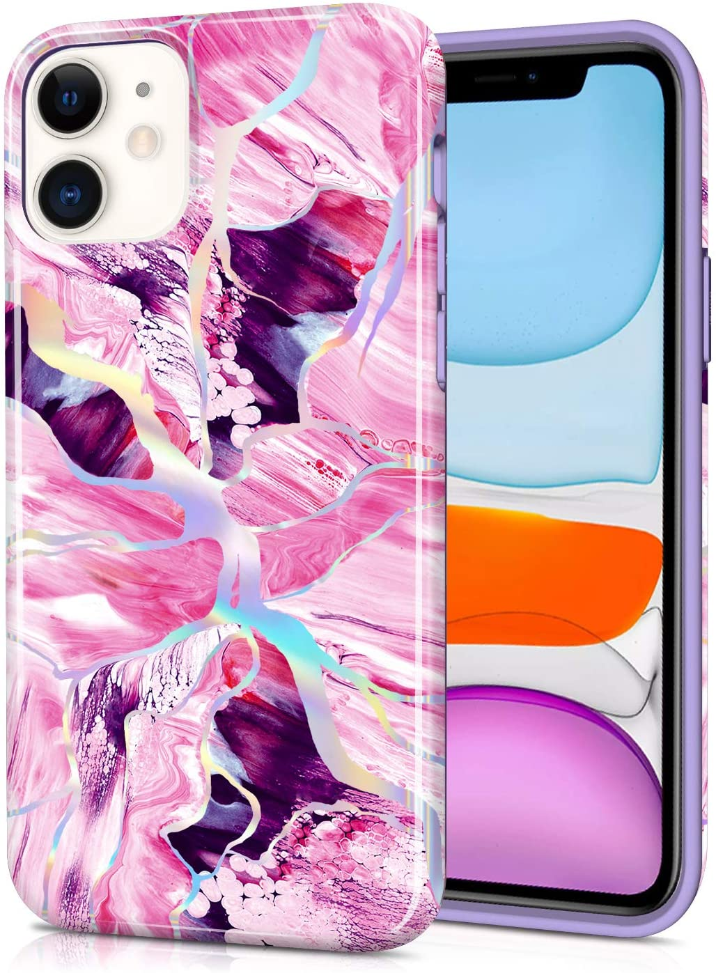 CAOUME Compatible with iPhone 11 Case (2019 Release) Holographic Pink Marble Design Glitter Protective Stylish Cases for Apple Phone(6.1