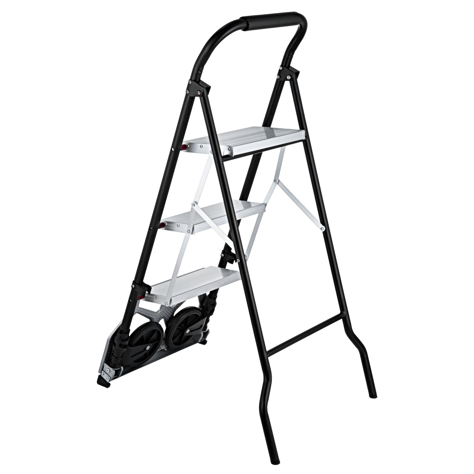 OrangeA 3-Steps Ladder Cart 2-in-1 Convertible Step Ladder Folding Hand Truck with Trolley by OrangeA (Image #8)