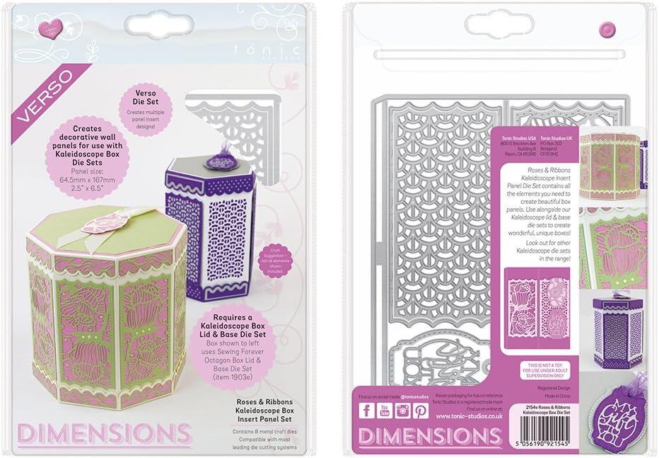 Roses /& Ribbons Kaleidoscope Box Insert Panel Set Tonic Studios 2154e