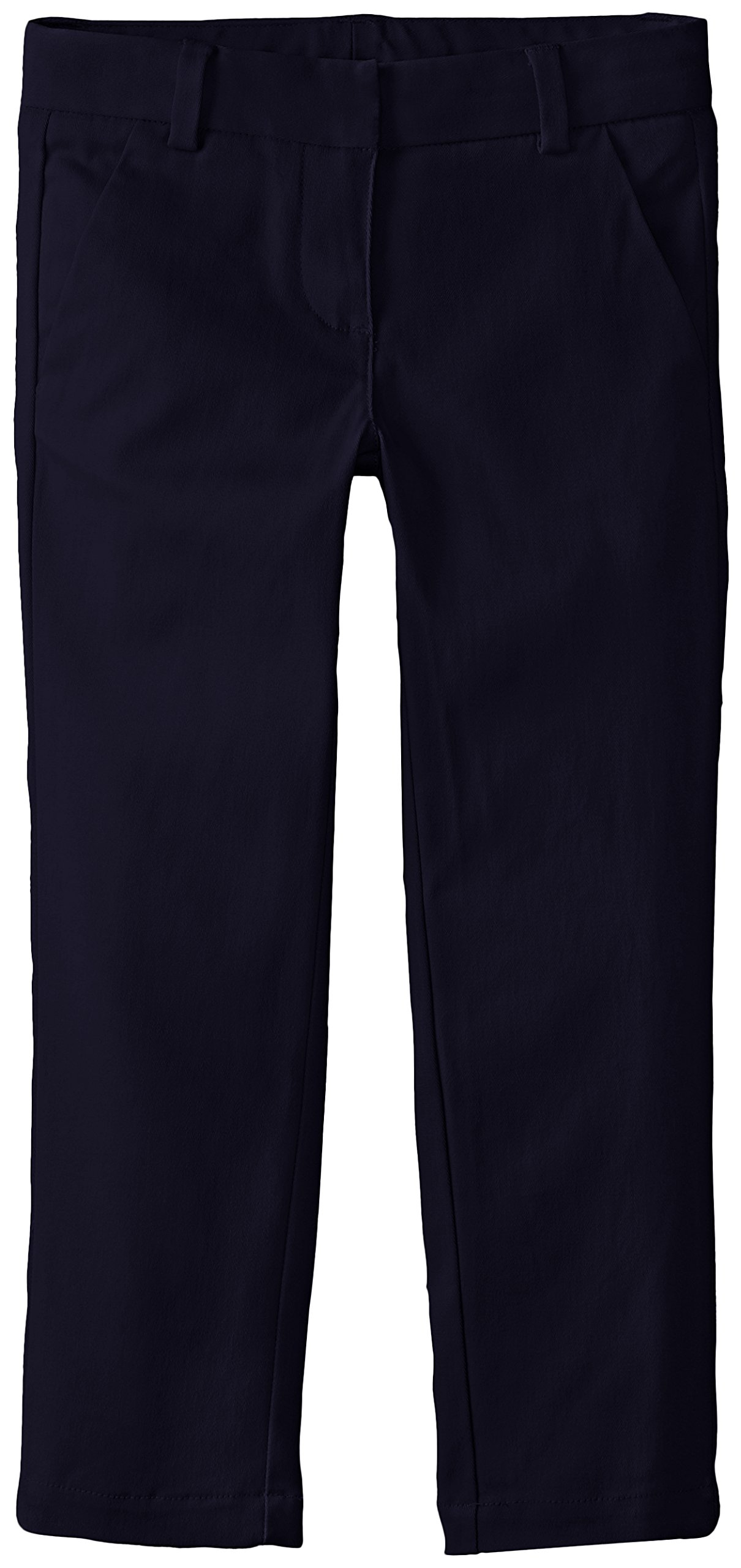 Nautica Little Girls' Uniform Stretch Twill Skinny Bootcut Pant with Waistband, Su Navy, 5