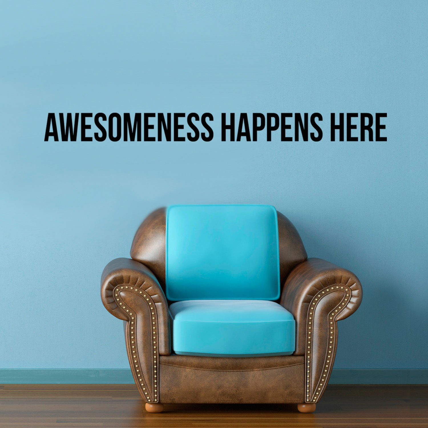 Awesomeness Happens Here - Inspirational Life Quotes Wall Art Vinyl Decal - 5'' X 60'' Decoration Vinyl Sticker - Motivational Wall Art Decal - Bedroom Living Room Decor - Trendy Wall Art