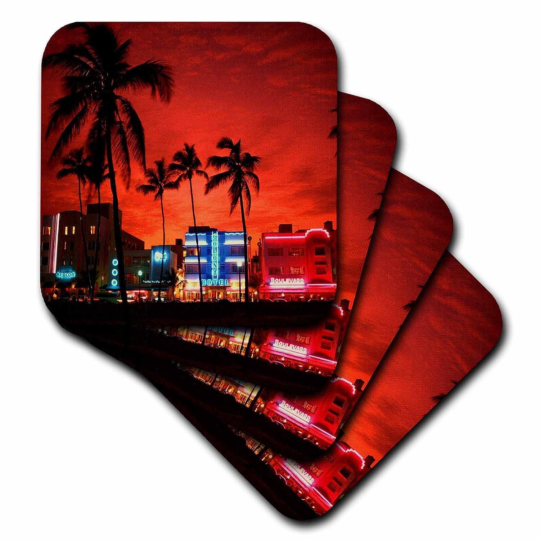 3dRose cst_21721_3 South Beach Sunset Night Ceramic Tile Coasters, Set of 4