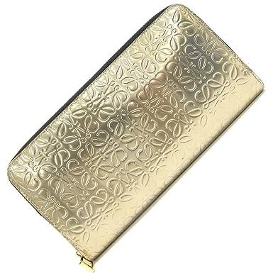 6af8a362fb91 Loewe(ロエベ) ラウンドファスナー長財布 リピート アナグラム ジップアラウンドウォレット ゴールド メタリックレザー