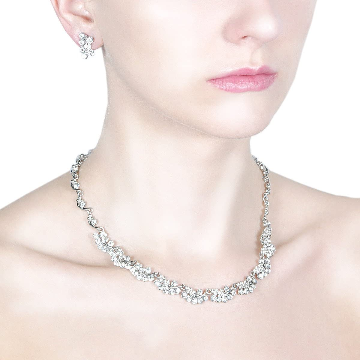 Special Occasion Jewelry Set. SF00149CL Lia Newyork Austrian Clear Crystals Necklace and Earring Set