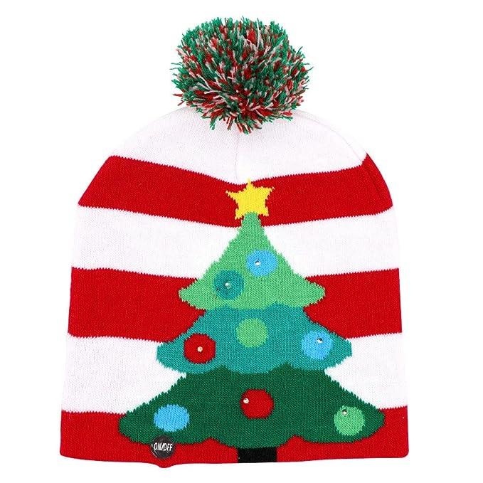 46206d34bde1d Gilbin Christmas Holiday Led Light Up Pom-Pom Knit Christmas Tree Hat