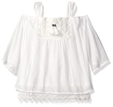 0f7188b1f79764 Amazon.com: My Michelle Girls' Big Cold Shoulder Top with Crochet Details  and Tassel Tie: Clothing