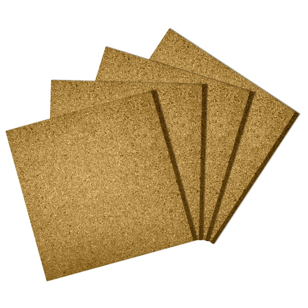 Premium Cork Tiles 12x12 - 1/2 Thick - Cork Board - Bulletin Board - Mini Wall - Ultra Strong Self Adhesive Backing - 4 Pack Classic Mules