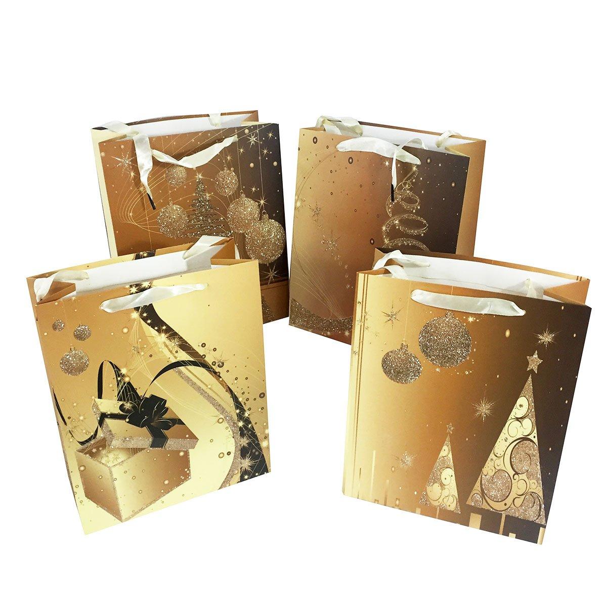 Allgala 12-PC Premium Christmas Printed Gift Bags, 10' 10