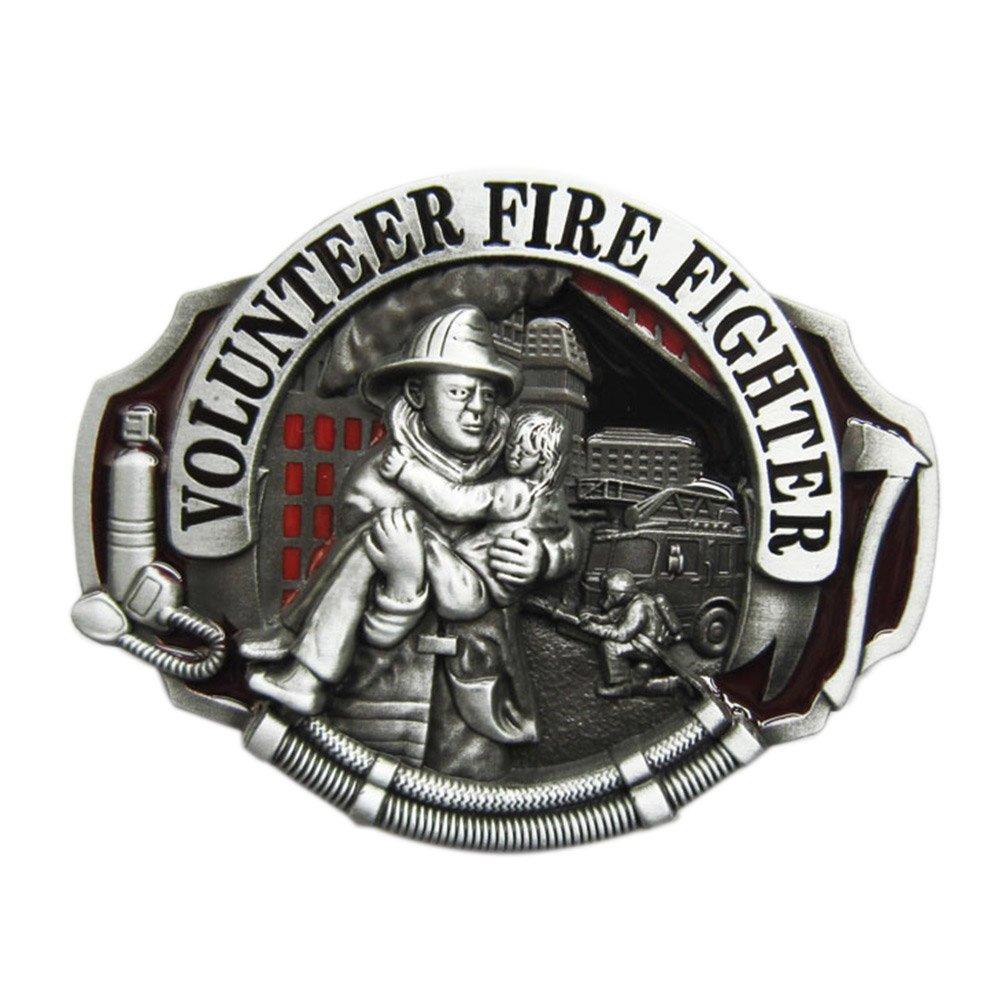 New Enamel Hero Volunteer Fire Fighter Belt Buckle Gurtelschnalle