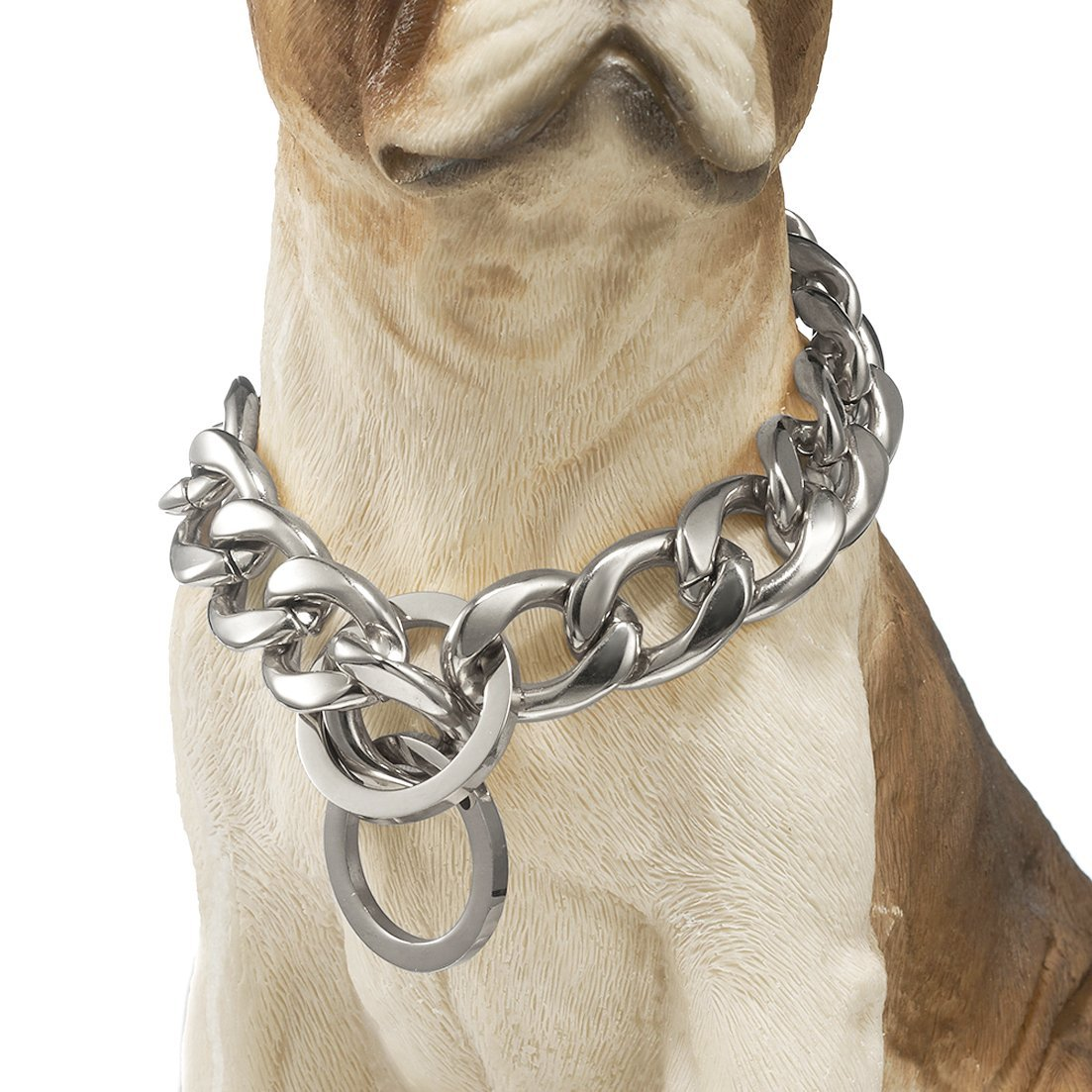 GZMZC 13/15/19mm Strong Silver Tone 316L Stainless Steel NK Chain Link Dog Pet Choker Collar Necklace 12-36inch(26inches,19mm)
