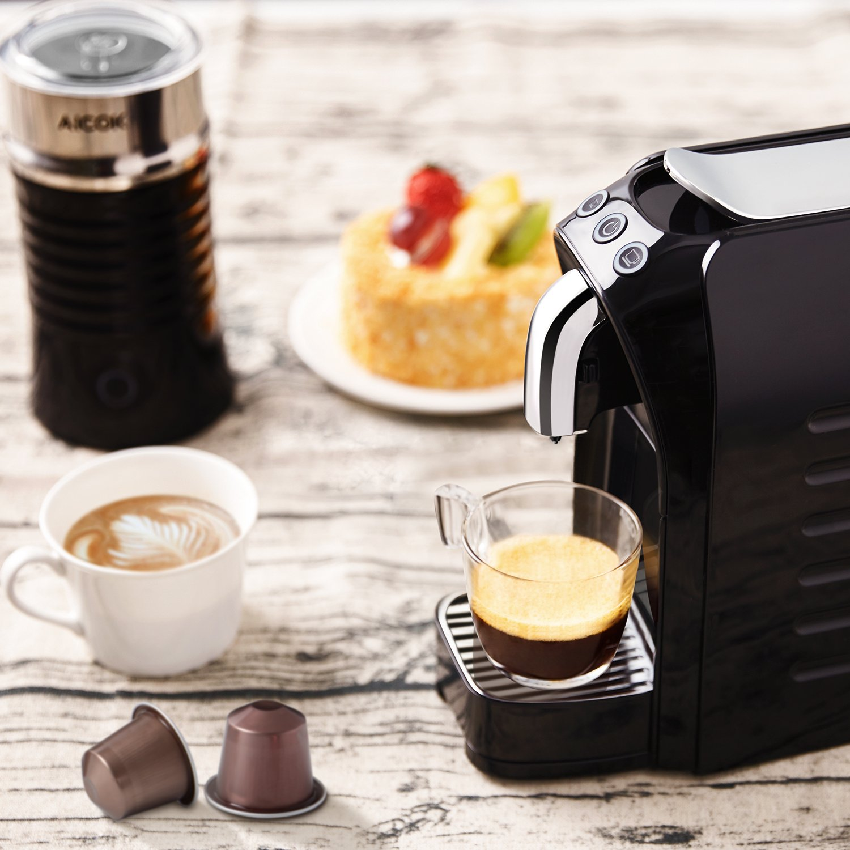 1255 W AICOK Cafetera 20 Bares Apagado Autom/ático Adecuado para C/ápsulas Originales de Nestl/é Cafetera de C/ápsulas Negro Botones Programables para Espresso