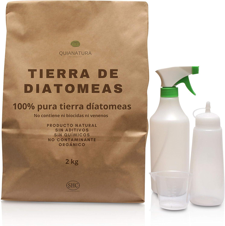 Tierra de diatomeas Insecticida Ecológico Fertilizante Natural y Orgánico para Agricultura y Mascotas.2 Kgr mas pulverizador de liquido, Vaso de Medida y pulverizador Polvo